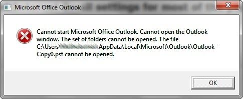 impossible de démarrer Microsoft Outlook