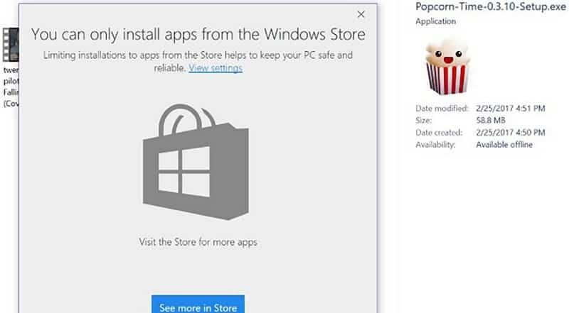 Du kan kun installere apps fra Windows Store i Windows 10
